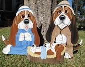 Made to Order Hand Painted Basset Hound Holiday/Christmas Yard Art - Basset Nativity 3 Piece Set