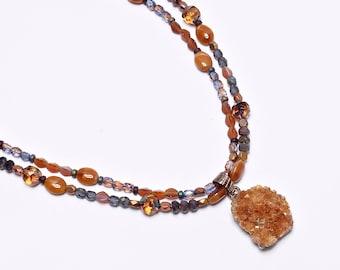 Golden Citrine.. Natural Druzy Pendant, Lavender Beaded Statement Necklace, cabnn41