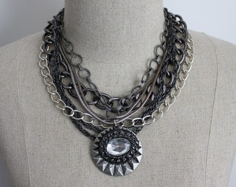 ON SALE MOONDUST Silver Statement Multistrand Chain Necklace with Crystal Pendant