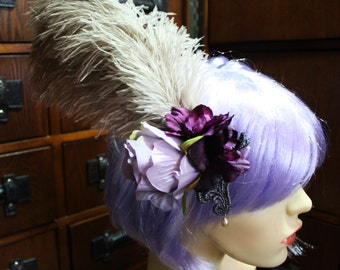 boho victorian steampunk faded lilac flower and feather hair clip