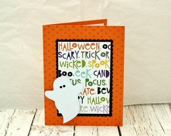 Halloween Card, Cute Halloween Card, Non Spooky Halloween Card, Halloween Card for Kids, Ghost Halloween Card,