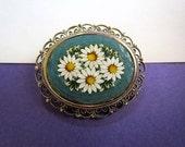 On Hold*****Vintage Italian Micro Mosaic Daisy Brooch