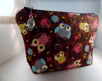 Owl Print Owl Charm Brown Pink Turquoise Makeup Bag Cosmetic Travel Bag Organizer Bag Cute