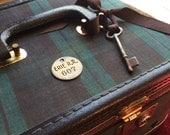 A Vintage Edwardian Steampunk Black Watch Plaid Train Case for a Lady or Gent