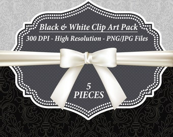 Bow Clip Art, Digital Paper Background, Black and White Clipart, Ribbon Bow Clipart