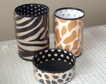 African Animal Print Desk Accessory Set, Zebra Cheetah Giraffe Pencil Holder, Tin Can Desk Organizer, Office Decor, Gift for Coworker - 768
