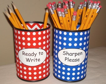 RESERVED - Red and Blue Polka Dot and Chevron Pencil Holder Set - 832