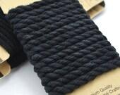 Black Hemp Rope, Twisted  Rope,  6mm, 2 Meters, Nautical Rope, Hemp Twine, Bondage Rope -CH7