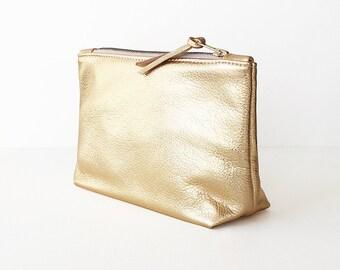 Metallic Gold Clutch, Make-up Bag, Metallic Leather Cosmetic Bag, Evening Clutch, Leather Zipper Wristlet, Wedding Clutch, Bridesmaid Clutch