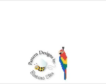 Red Macaw Beaded Earring Pattern - Brick Stitch or Peyote Stitch #310