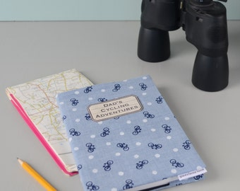 Personalised Cycling Journal, blue, grey fabric sketchbook, record your bike journey, planner, diary, blank book
