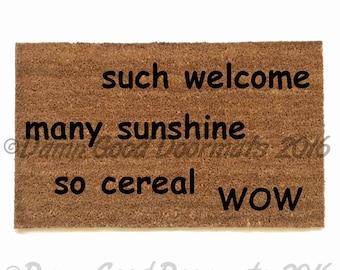 Doge meme many welcome so cereal many sunshine  novelty indoor outdoor doormat
