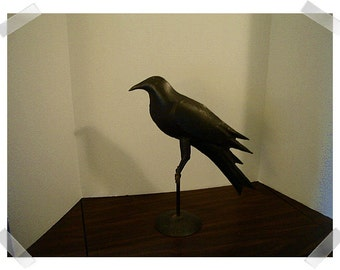 Iron Black Crow on Perch/ Distressed Finish/Home Decor / Supplies*