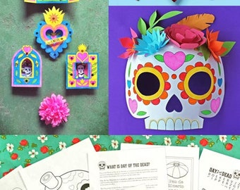 5 Day of the Dead craft activities. Learn about El Dia de los Muertos. Over 40 teacher friendly printable PDF worksheets - by Happythought.