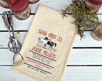 Flour Sack,  Feed Sack, Feed Sack Towel, Horse Towel, Kitchen Towel, Cotton Towel, Dish Towel,  Tea Towel, Shaw Feed Co. Horse Pellets