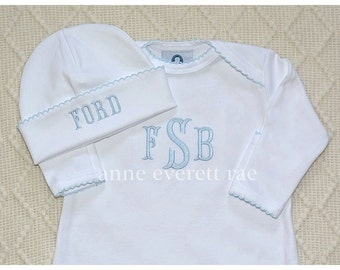 Baby Boy Coming Home Outfit- Newborn Coming home Outfit- Pima Cotton Baby-Baby Clothes-Fancy Trim Footed Sleepers- Boutique Baby-Baby Girl