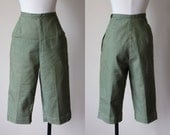 50s Pants - Vintage 1950s Clamdigger Shorts - Olive Green Cotton Denim Cropped Pants M - Pykettes Pants