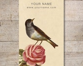 Bird with Rose Business Card - Vintage Business Cards - Jewelry Cards - Earring Cards - Display Cards - Custom - Personalized - No. 1