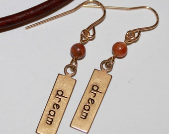 Dream Earrings-Dream Affirmation Tag Charm-Antiqued Gold Trinity Brass-Drop Dangle Earring-Earrings Under 2 Inches-Gold and Gemstone Earring