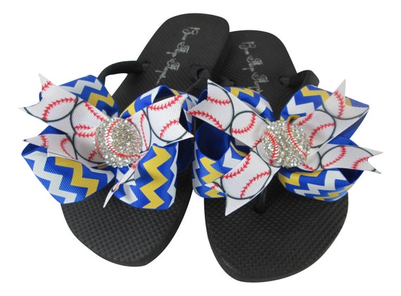 Baseball Flip Flops with Bling Rhinestone-Royal Blue and Yellow Gold chevron Bow Flip Flops-choose any col