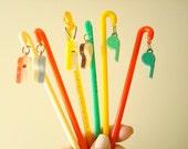 Vintage swizzle sticks, set of six whistle swizzle sticks, colorful kitschy barware, mid-century gift for men, drink stir sticks