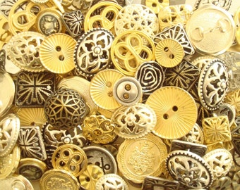 Mixed metal button grab bag, 50 new-old-stock buttons, silver, gold, bronze & antiqued brass tones, fancy European vintage buttons