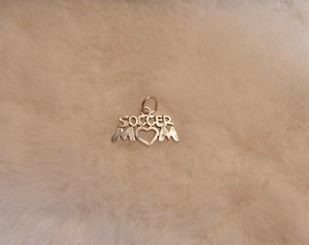Sterling Silver Soccer MOM Charm, Charm Bracelet Supply, 925 Sterling, Destash, Below Wholesale