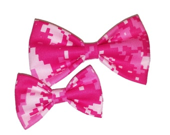 Pink Camo Bow Tie - Camouflage Clip on Bow - Cat Bow - Army Dog Bowtie - Girl Hair Clip - Hunter Wedding