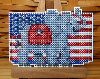 Patriotic Red Beaded Cross Stitch Ornament, Pin, or Magnet - Free U.S. Shipping
