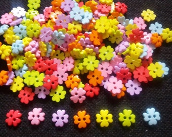 80 pcs - Cute clover flower button - size 10 mm  mix color