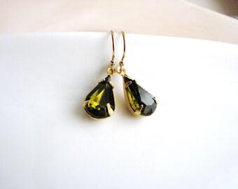 Vintage Glass Jewel Earrings, Estate Style Cut Glass Gem Earrings, Tear Drop Gold Filled, Olive Green Minimalist Modern Bridal Jewelry
