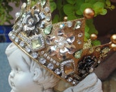 Golden Crown Ornament Embellished With Vintage Rhinestone