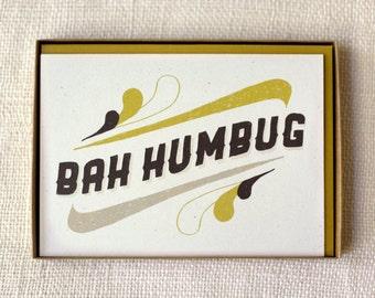 Sale 50% Off - Holiday Card Set of 6 - Bah Humbug