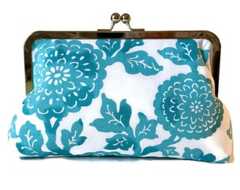 PERSONALIZED CLUTCH PURSE for bridesmaids Wedding Party Gift Ocean Blue Mums print