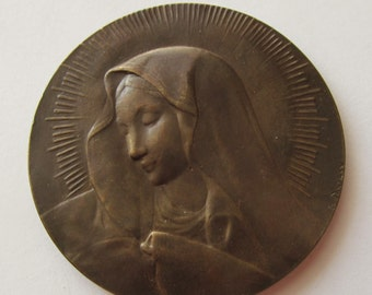 Antique Virgin Mary French Bronze Religious Art Medal Signed Dropsy Circa 1920