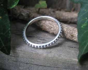 sterling silver beaded eternity ring VINTAGE bohemian gypsy