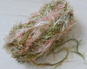 Knitting yarn, Destash yarn, eyelash yarn, green, peach yarn, Y64