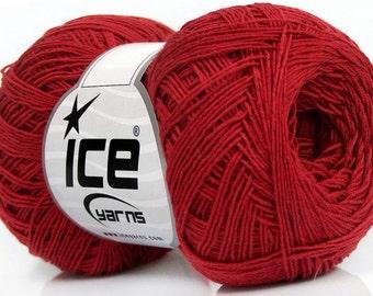 Knitting  yarn, Destash yarn, red, light fingering, lace weight, Y214