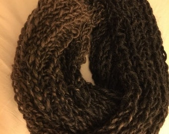 Taupe and Charcoal Gray Chunky Infinity Scarf