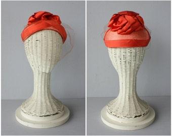 1950s Vintage Hat | 50s Straw Hat | Vintage 50s Toque | Silk Hat | Cocktail Hat | Orange Cap | 1950s Orange Hat