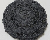 Dark Gray Hair Net / Bun Cover Hand Crocheted Flower Style Amish Mennonite