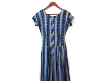 BTS SALE Vintage 50s Preppy Pleated Blue and Gray Plaid Cotton Day Dress xs