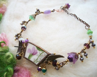 Broken China Bracelet with a Vintage Purple Flower Pattern Glass Beads Dragonfly Charm Broken Cups and Plates Mosaic