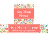 Etsy Shop Banners - Etsy Banners - Floral Etsy Banners - Spring Etsy Shop Banners - Etsy Banner Sets - 2 Piece - Cathy