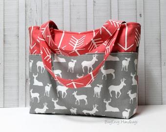 Coral Arrows and Grey Buck Deer Tote Bag /  Diaper Bag /  Medium Bag