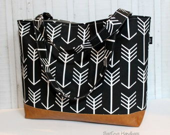 Black Arrows with Vegan Leather - Diaper Bag -  Large / XLarge Tote Bag / Overnight Bag / Travel Bag