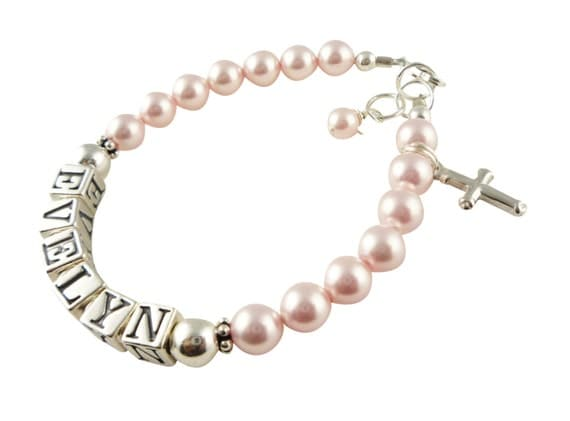 First Communion Bracelet/ Cross Baptism Bracelet with rosaline pink swarovski pearls for baby and girls