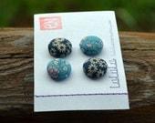 Fabric Button Thumb Tacks / Push Pins - Blue