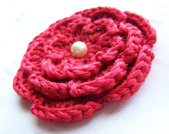 Crochet motif flower with bead 3 inch red