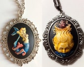 Hand Painted Mermaid / Lady of the Sea Cameo Pendant Necklace Collection